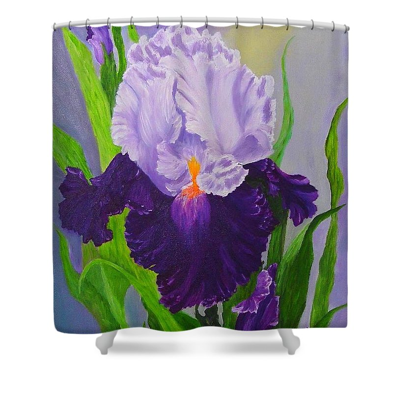Floral Painting Shower Curtain featuring the painting Iris by Peggy Holcroft