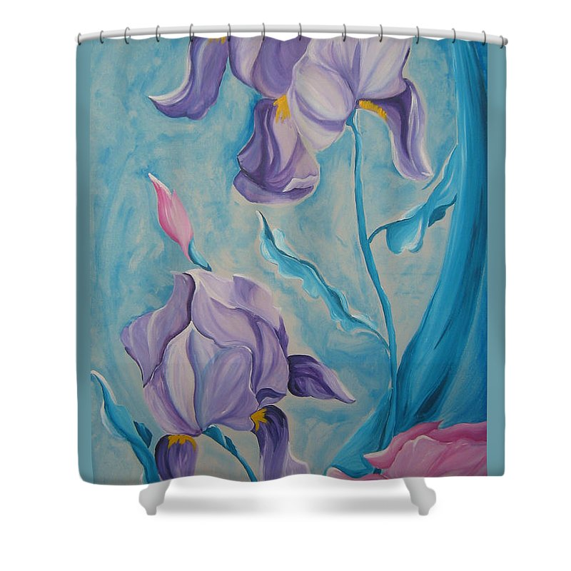 Flowers Shower Curtain featuring the painting Iris by V Boge