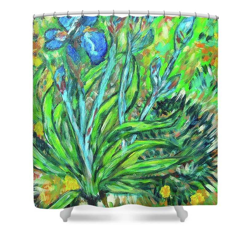 Iris Shower Curtain featuring the painting Irises Ala Van Gogh by Carolyn Donnell