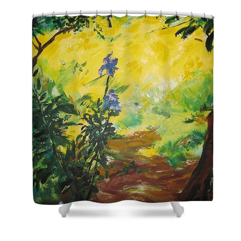 Sunlight Shower Curtain featuring the painting Irises And Sunlight by Lizzy Forrester