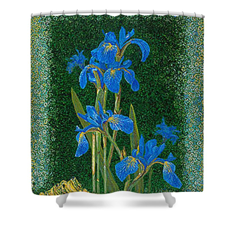 Irises Shower Curtain featuring the painting Irises Blue Flowers Lucky Love Frog Friends Fine Art Print Giclee High Quality Exceptional Colors by Baslee Troutman