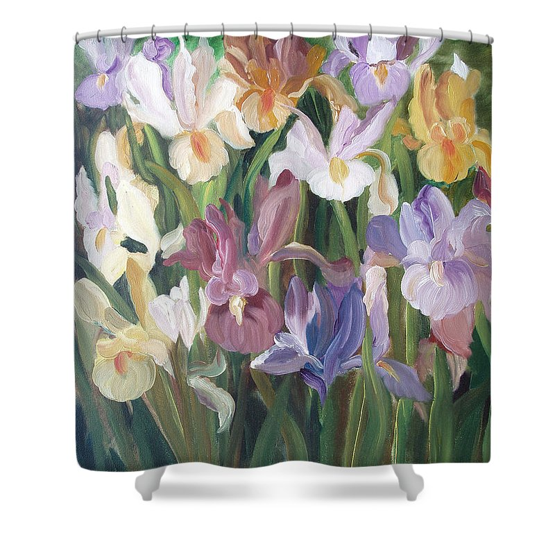Irises Shower Curtain featuring the painting Irises by Gina De Gorna