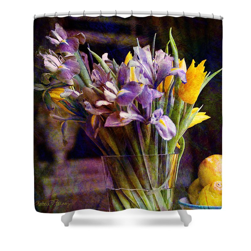 Purple Shower Curtain featuring the digital art Irises In A Glass by Barbara Berney