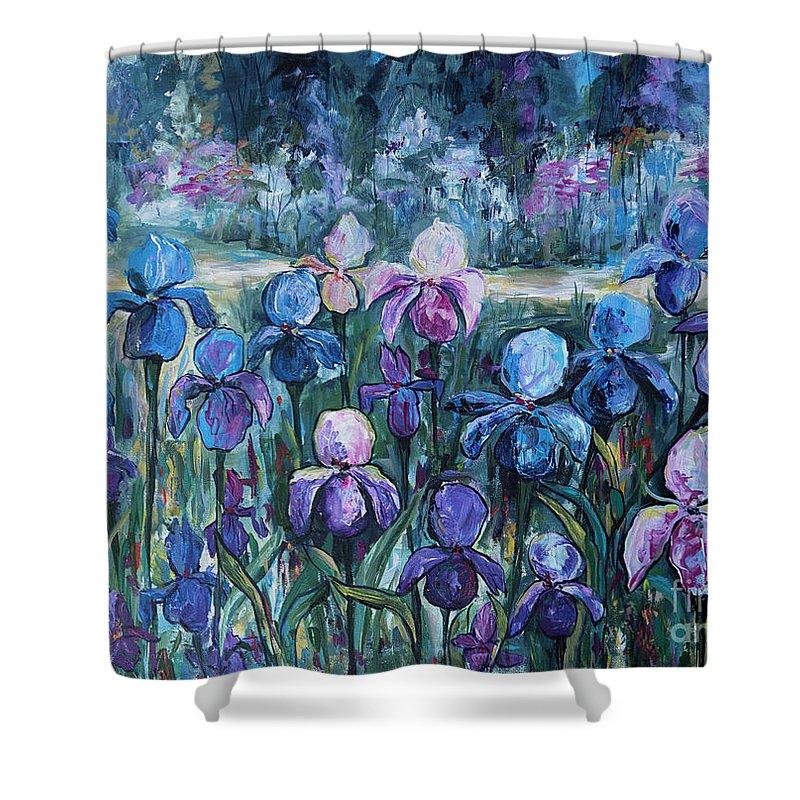 Irises Shower Curtain featuring the painting Irises by Yana Sadykova