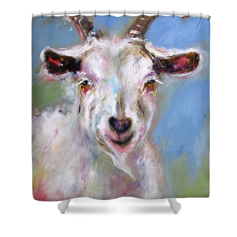 Wall Art Irish Goat Shower Curtain Featuring The Painting By Mary Cahalan