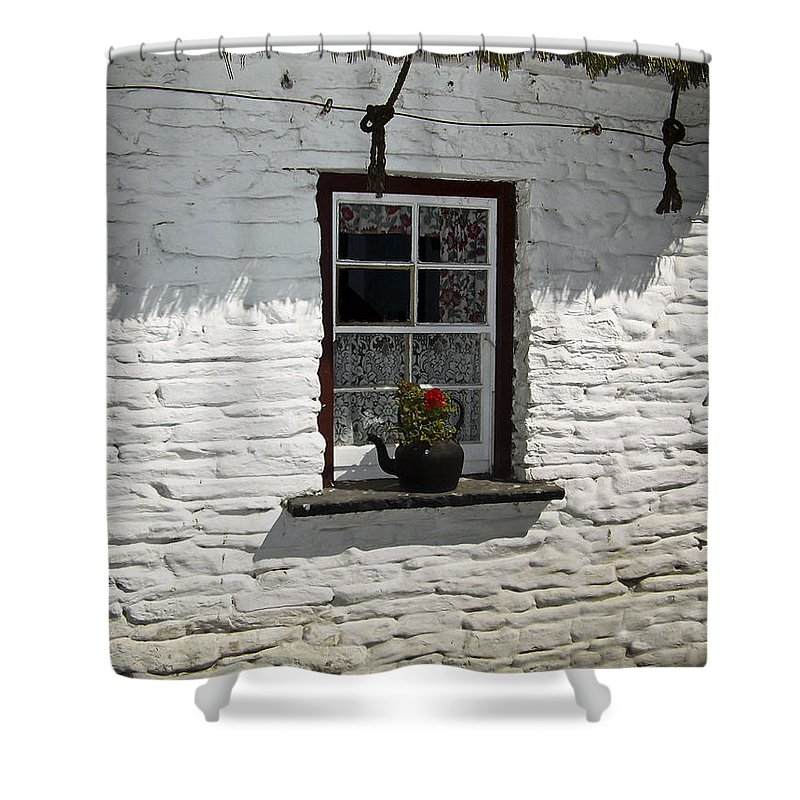 Irish Shower Curtain featuring the photograph Irish Kettle Of Geraniums County Cork Ireland by Teresa Mucha