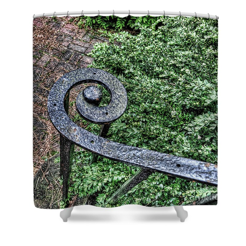 Cranbrook Shower Curtain featuring the photograph Iron Banister by Chris Fleming