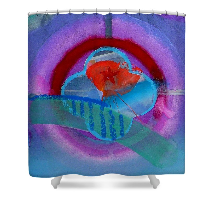 Logo Shower Curtain featuring the painting Iron Butterfly by Charles Stuart