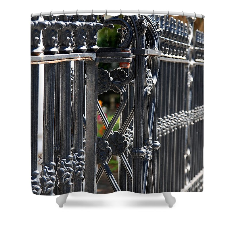 Iron Fence Shower Curtain featuring the photograph Iron Fence by Susanne Van Hulst