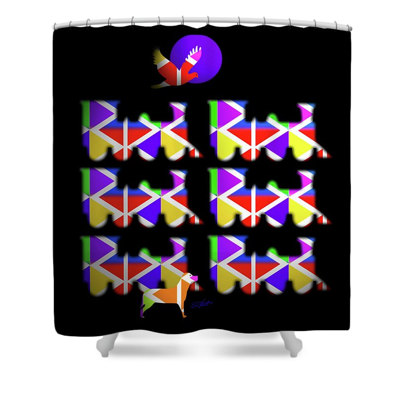 Loco Shower Curtain featuring the painting Iron Horse by Charles Stuart