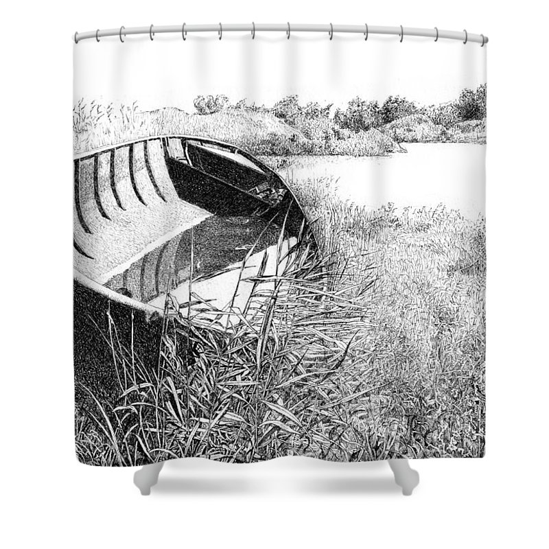 Fishing Boat Shower Curtain featuring the drawing Iron Trough by Alexander Potekhin