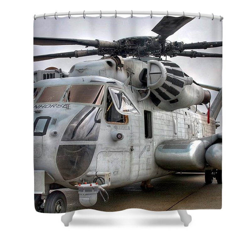 Helicopter Shower Curtain featuring the photograph Ironhorse by Mitch Cat