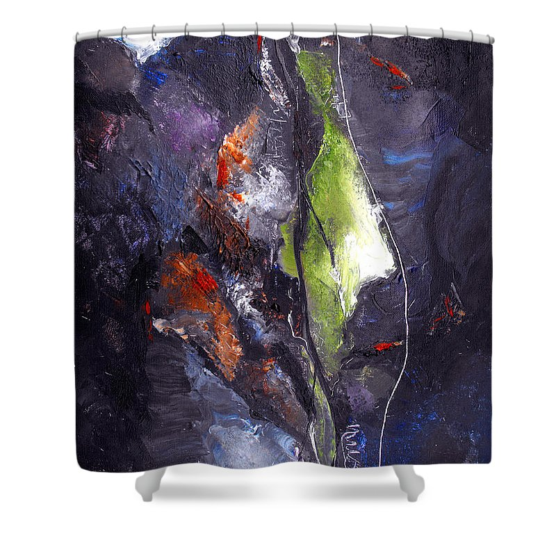 Abstract Shower Curtain featuring the painting Irreconcilable Differences by Ruth Palmer