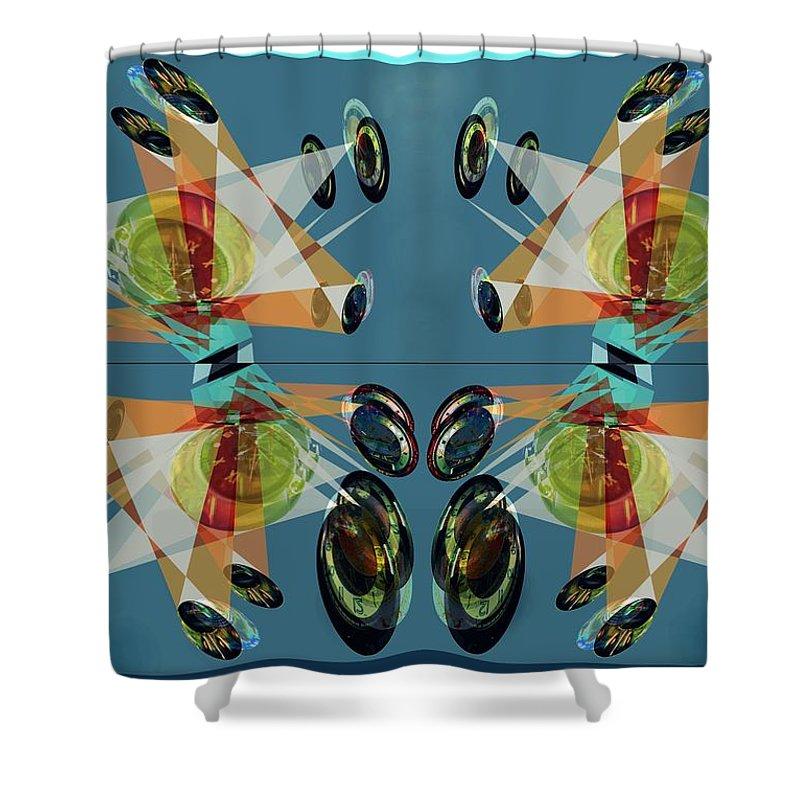 Mirror Shower Curtain featuring the digital art Irregular Mirrored Watches by Helmut Rottler