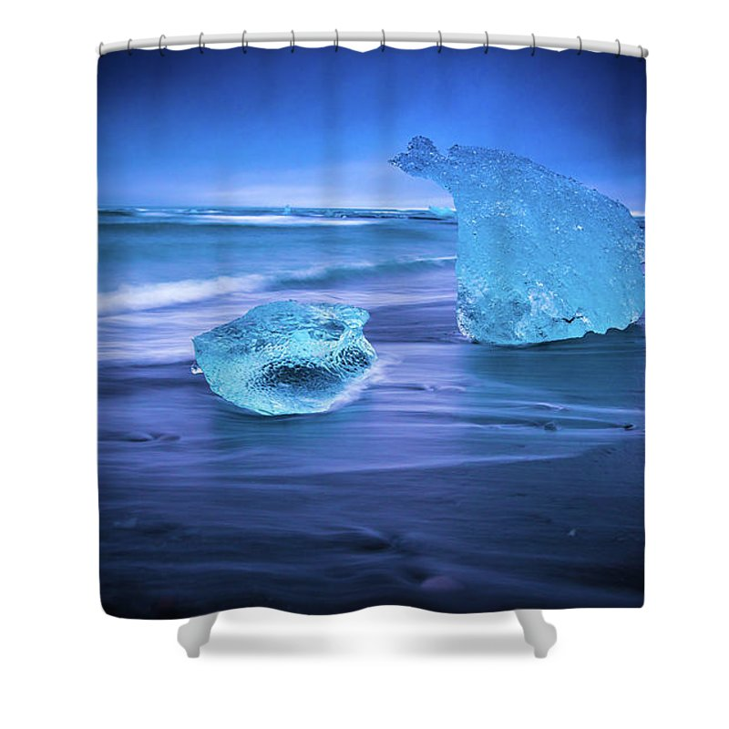 Iceland Shower Curtain featuring the photograph Irridescent Jokulsarlon Blue Ice by Mike Reid