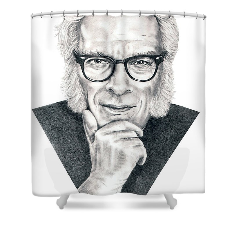 Portrait Shower Curtain featuring the drawing Isaac Asimov by Murphy Elliott