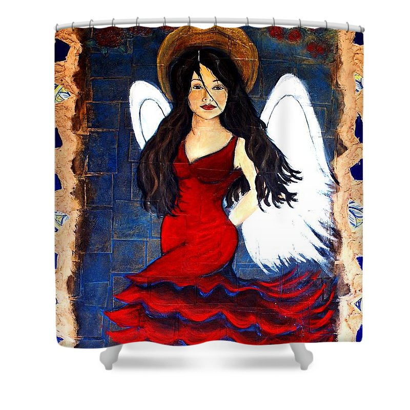Spanish Shower Curtain featuring the painting Isabella by The Art With A Heart By Charlotte Phillips