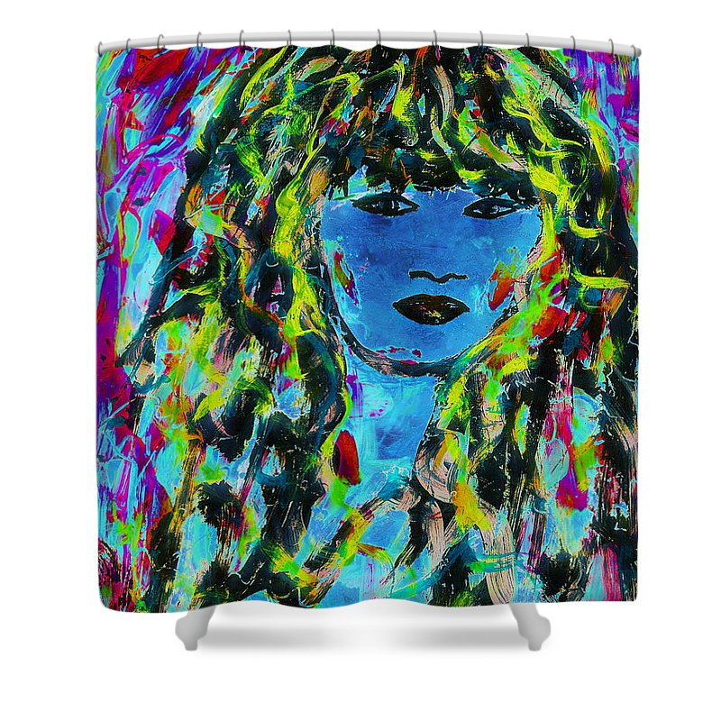 Isabella Portrait Shower Curtain featuring the painting Isabella by Natalie Holland