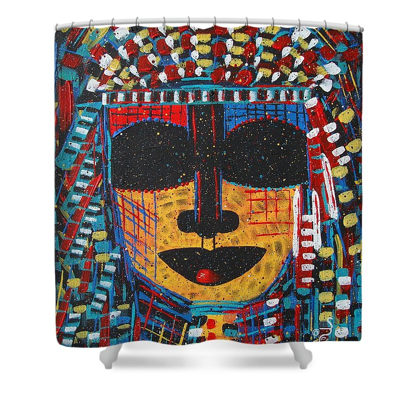 Abstract Shower Curtain featuring the painting Isatoria by Natalie Holland