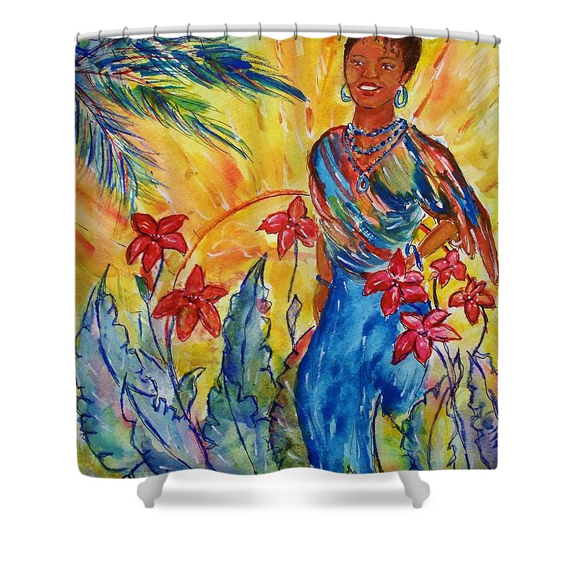 Female Shower Curtain featuring the painting Island Girl by Robin Monroe