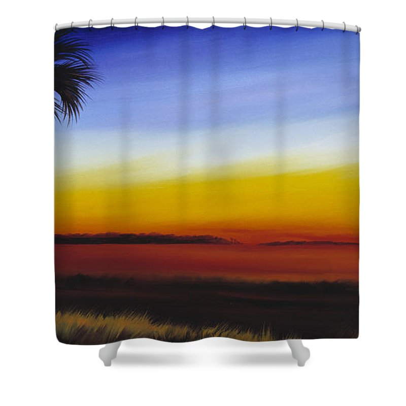 Palmetto Tree Shower Curtain featuring the painting Island River Palmetto by James Christopher Hill