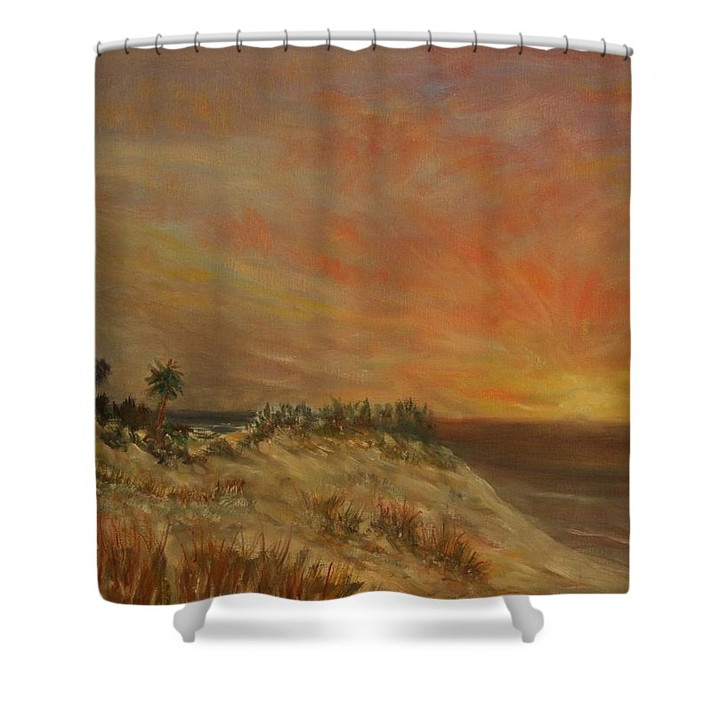 Sunset;beach;ocean;palm Trees Shower Curtain featuring the painting Island Sunset by Ben Kiger
