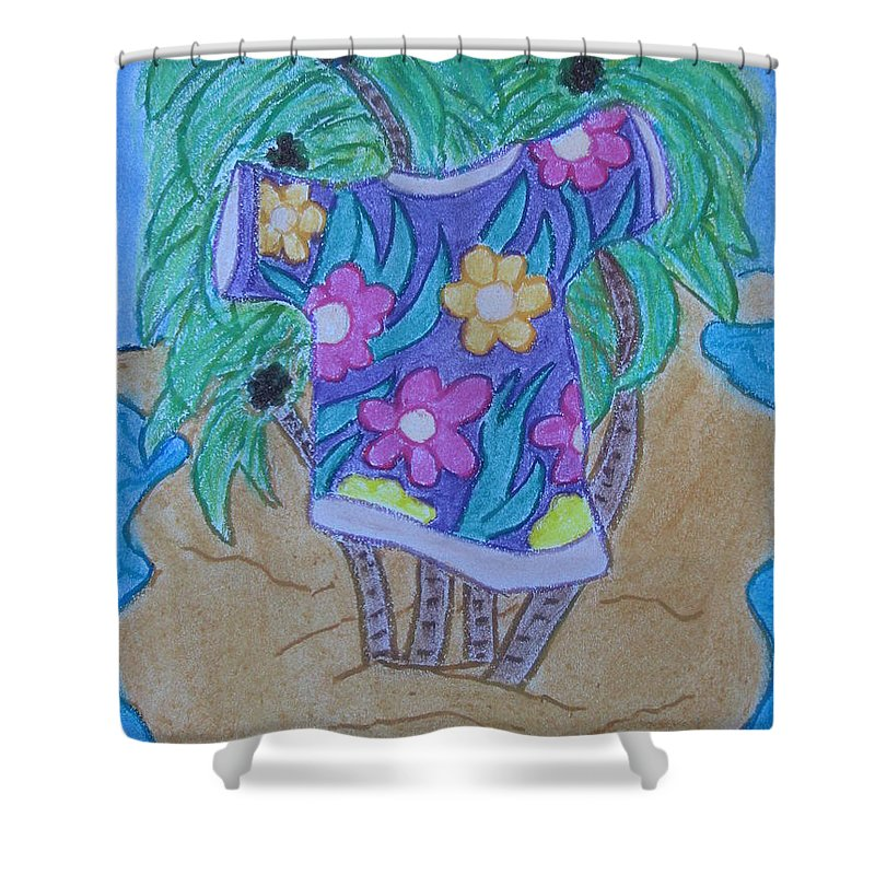 Sea Shower Curtain featuring the pastel Island T-shirt by Laura Jordan