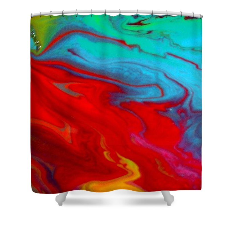 Rainbow Colored Shower Curtain featuring the painting Island Tropicale Diptych II by Holly Anderson