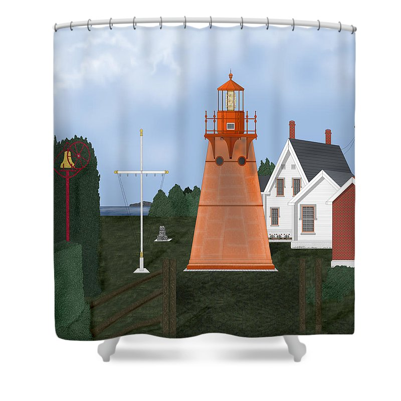 Lighthouse Shower Curtain featuring the painting Isle La Motte Vermont Lighthouse by Anne Norskog
