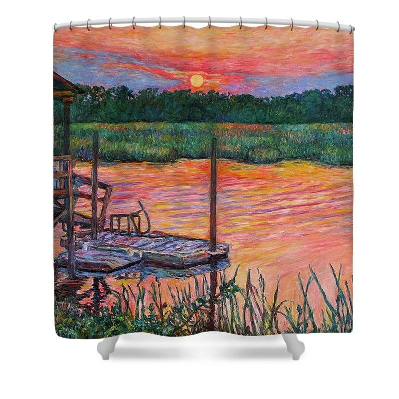 Isle Of Palms Shower Curtain featuring the painting Isle Of Palms Sunset by Kendall Kessler