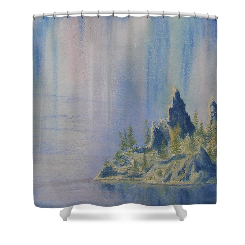 Island Shower Curtain featuring the painting Isle Of Reflection by Lynn Quinn