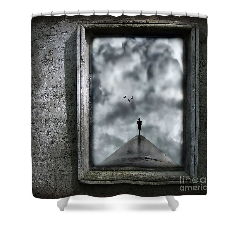 Dark Shower Curtain featuring the painting Isolation by Jacky Gerritsen