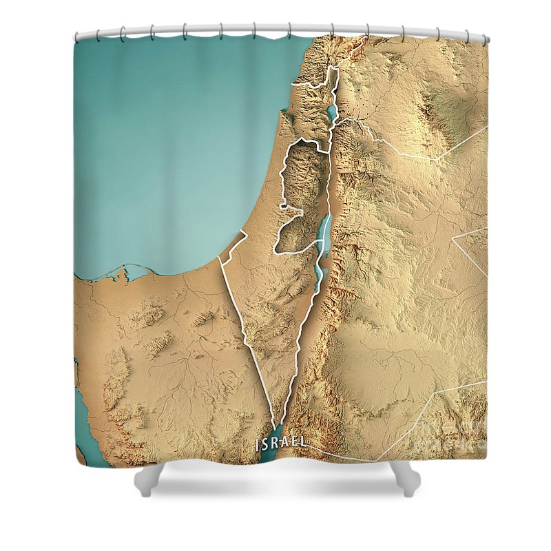 Israel Country 3d Render Topographic Map Border Shower Curtain For