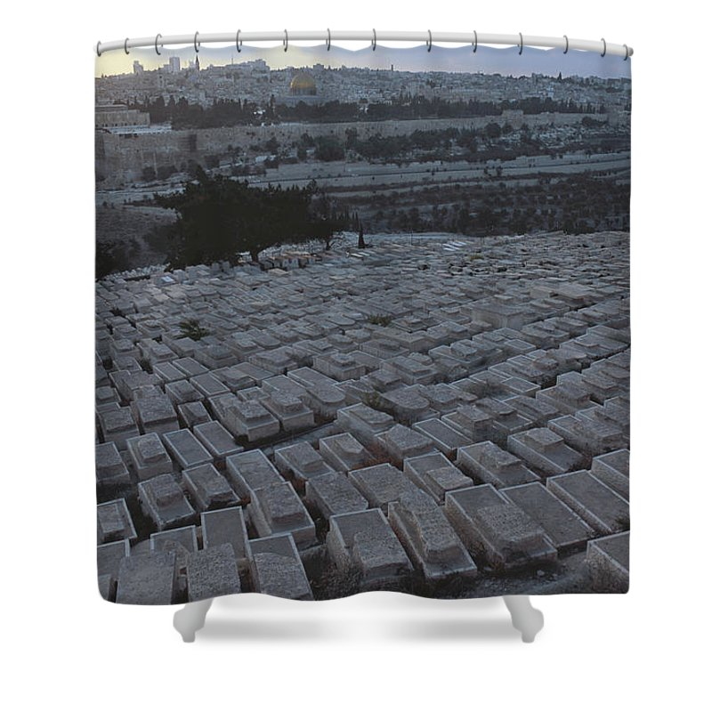 Color Image Shower Curtain featuring the photograph Israel, Jerusalem Mount Of Olives by Keenpress