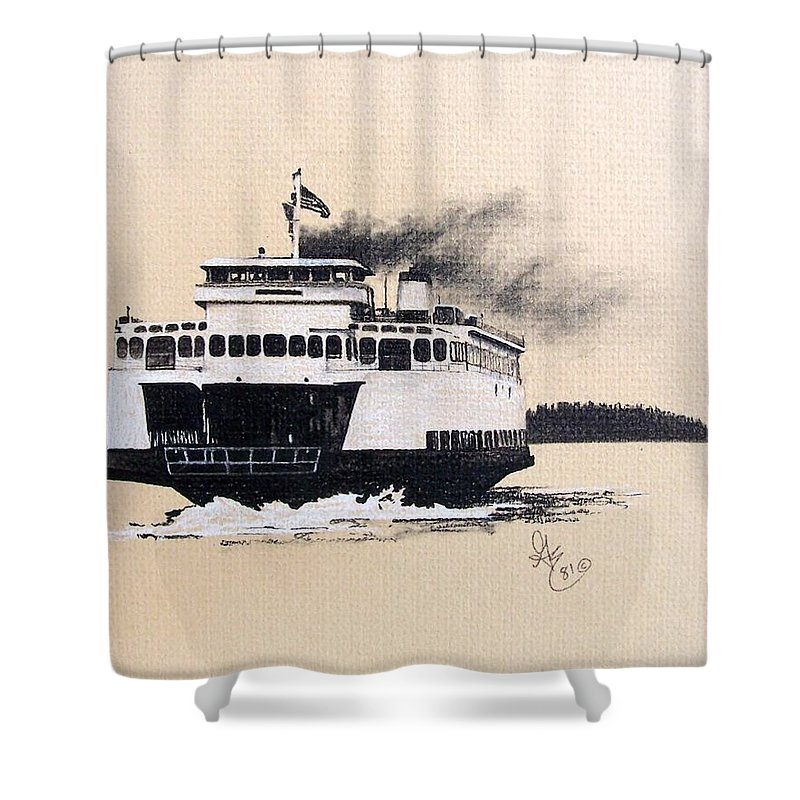 Ferry Shower Curtain featuring the pastel Issaquah by Gale Cochran-Smith