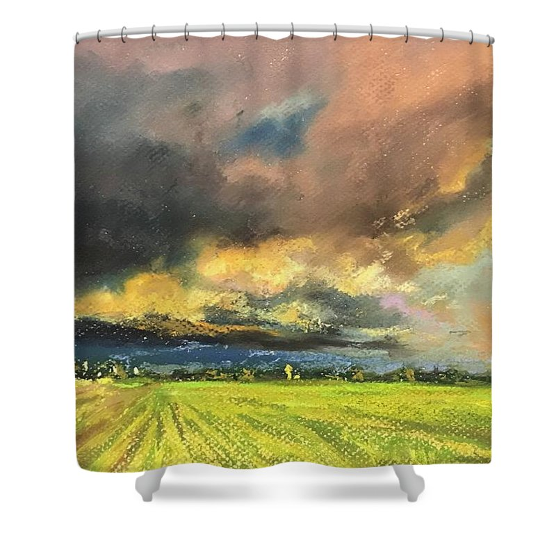 Pastel Shower Curtain featuring the pastel It Is Coming by Vlad Duchev