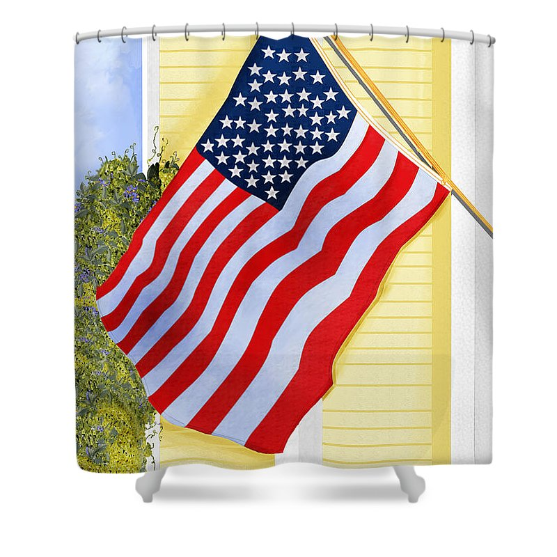 U.s. Flag Shower Curtain featuring the painting It Will Fly Until They All Come Home by Anne Norskog