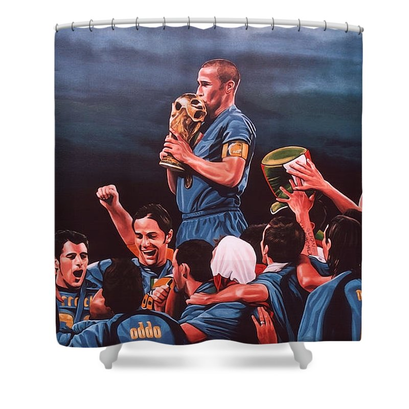 Italia Shower Curtain featuring the painting Italia The Blues by Paul Meijering