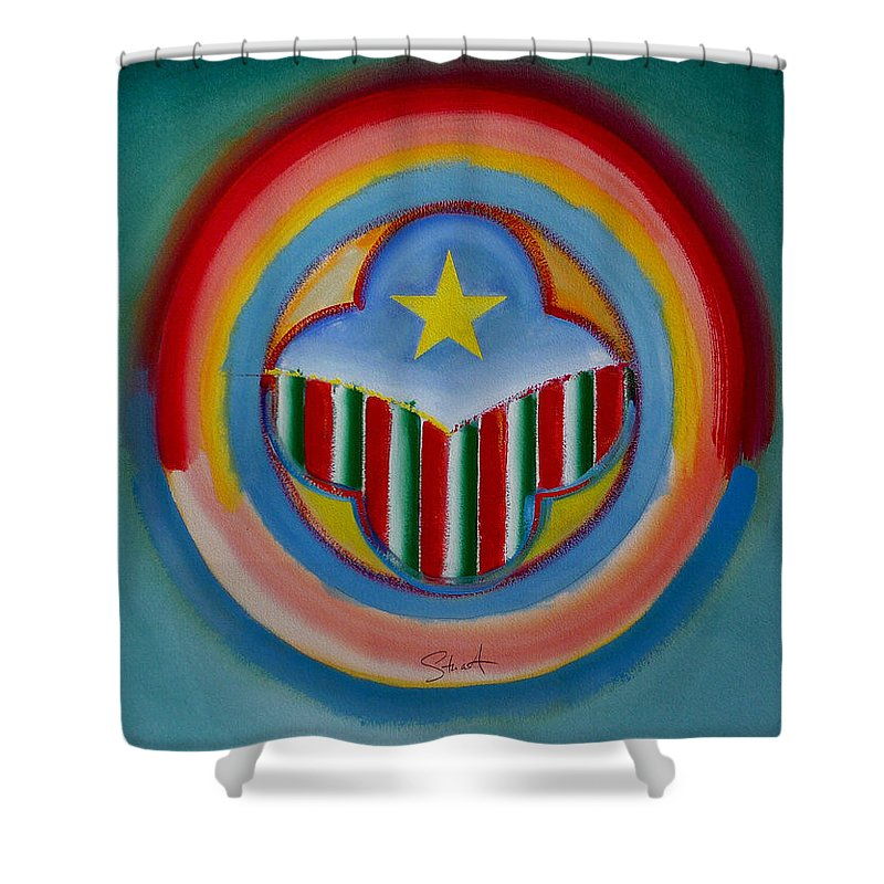 Button Shower Curtain featuring the painting Italian American by Charles Stuart