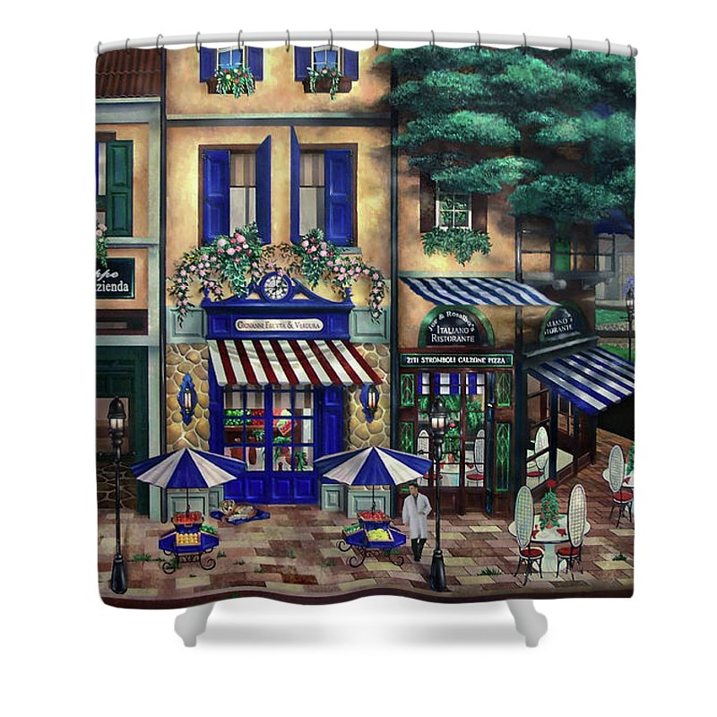 Italian Shower Curtain featuring the mixed media Italian Cafe by Curtiss Shaffer