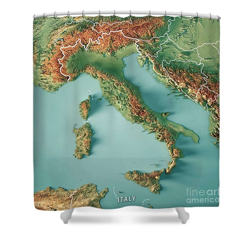 Italy country 3d render topographic map border shower curtain for italy shower curtain featuring the digital art italy country 3d render topographic map border by frank gumiabroncs Image collections