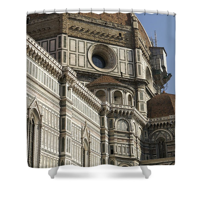 Arch Shower Curtain featuring the photograph Italy, Florence, Facade Of Duomo Santa by Sisse Brimberg & Cotton Coulson