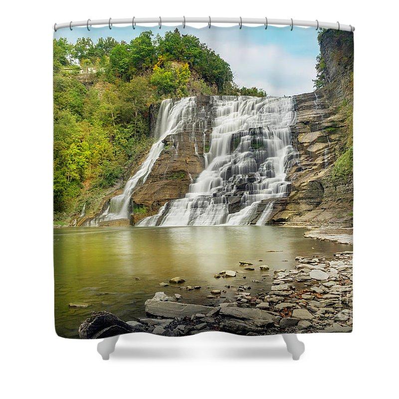 New York Shower Curtain featuring the photograph Ithaca Falls by Karen Jorstad