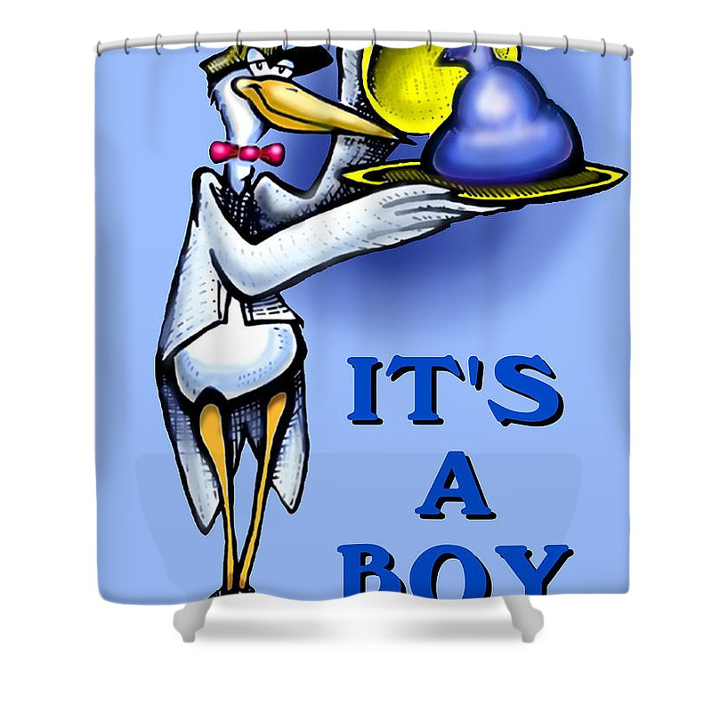 Baby Shower Curtain featuring the greeting card It's A Boy by Kevin Middleton