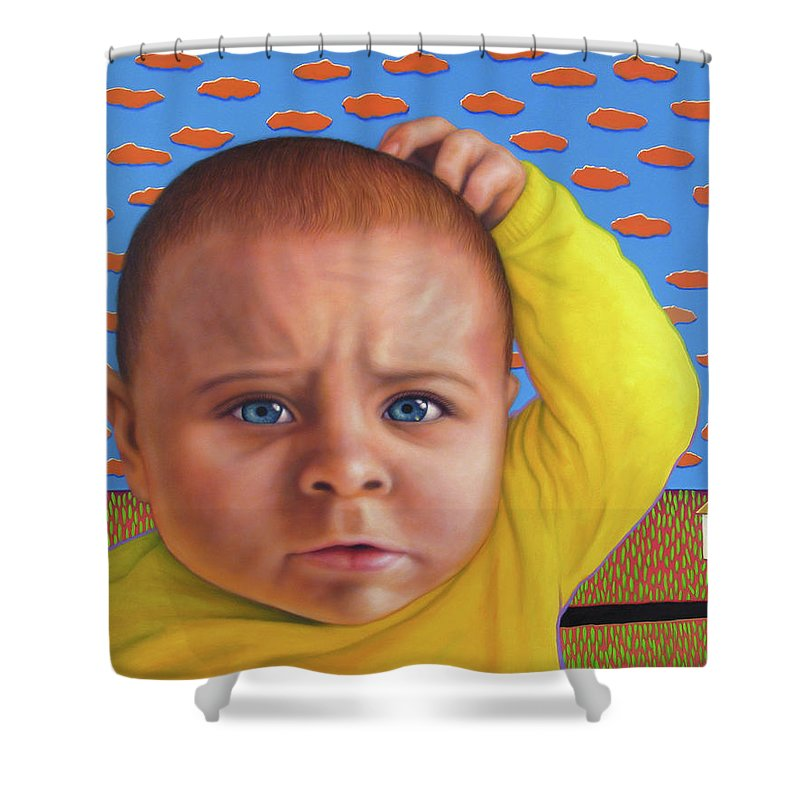 Confusing Shower Curtain featuring the painting It's A Confusing World by James W Johnson