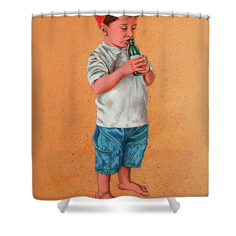Summer Shower Curtain featuring the painting It's A Hot Day - Es Un Dia Caliente by Rezzan Erguvan-Onal
