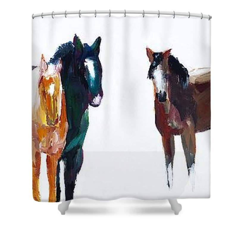 Horses Shower Curtain featuring the painting It's All About The Horses by Frances Marino