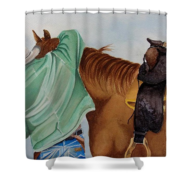 Boots Shower Curtain featuring the painting Its Just Us by Jimmy Smith