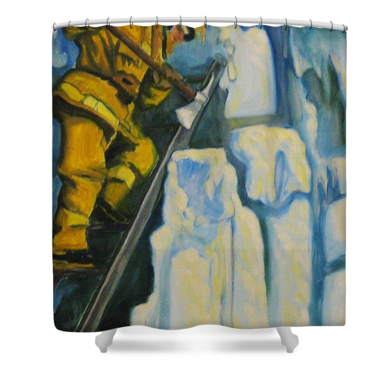 Firefighters Shower Curtain featuring the painting Its Not Over Till Its Over by John Malone