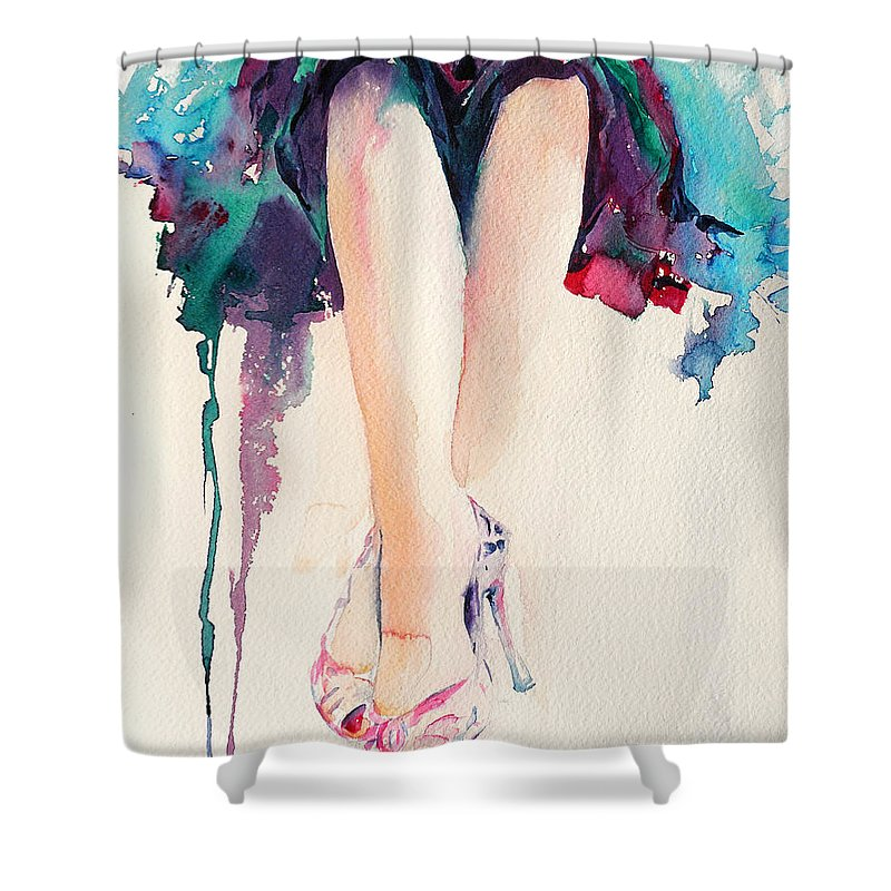 Legs Shower Curtain featuring the painting It's Party Time by Stephie Butler